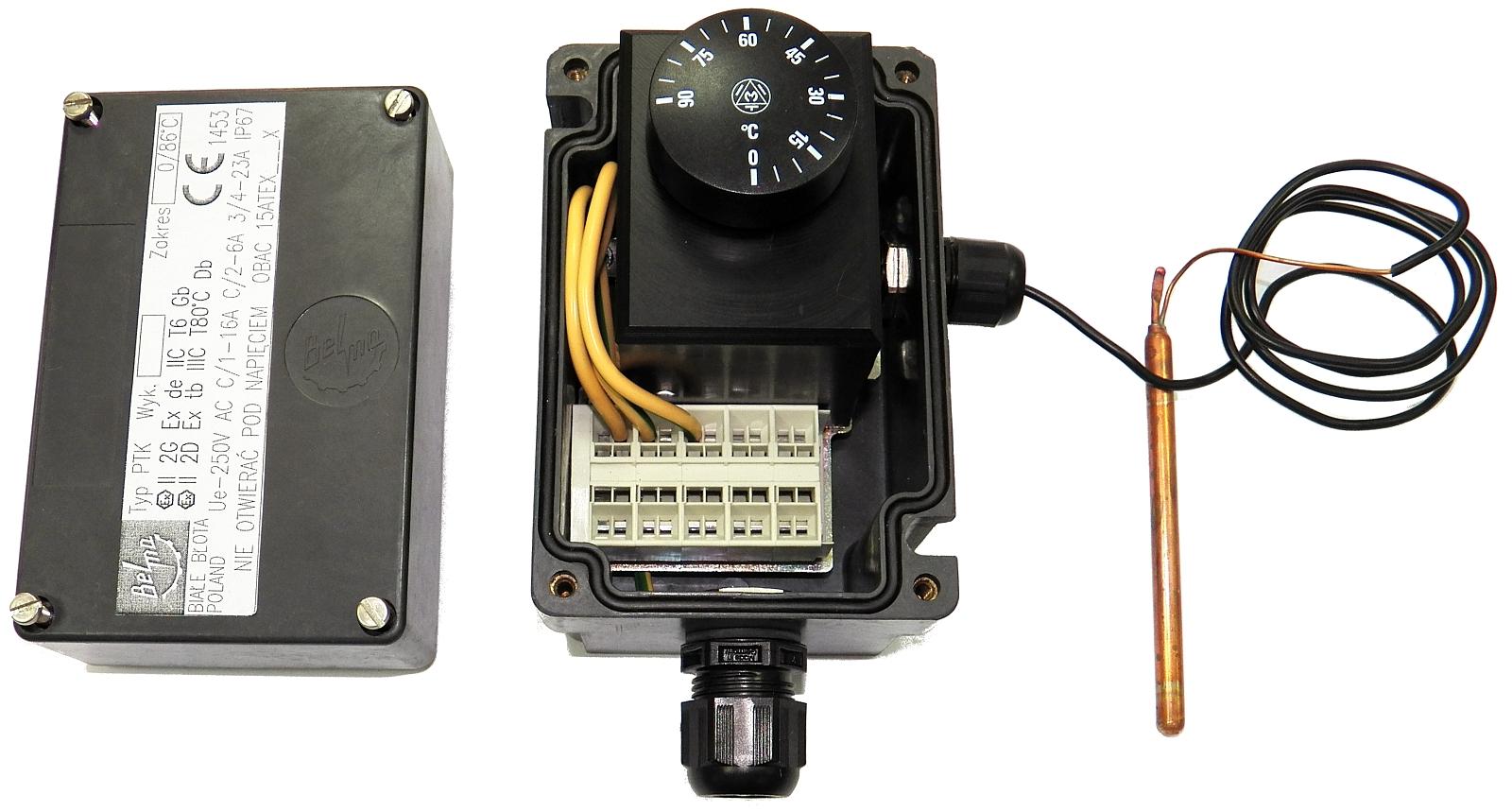 Przeciwwybuchowy termostat z kapilarą typu PTK (250V, 16A)