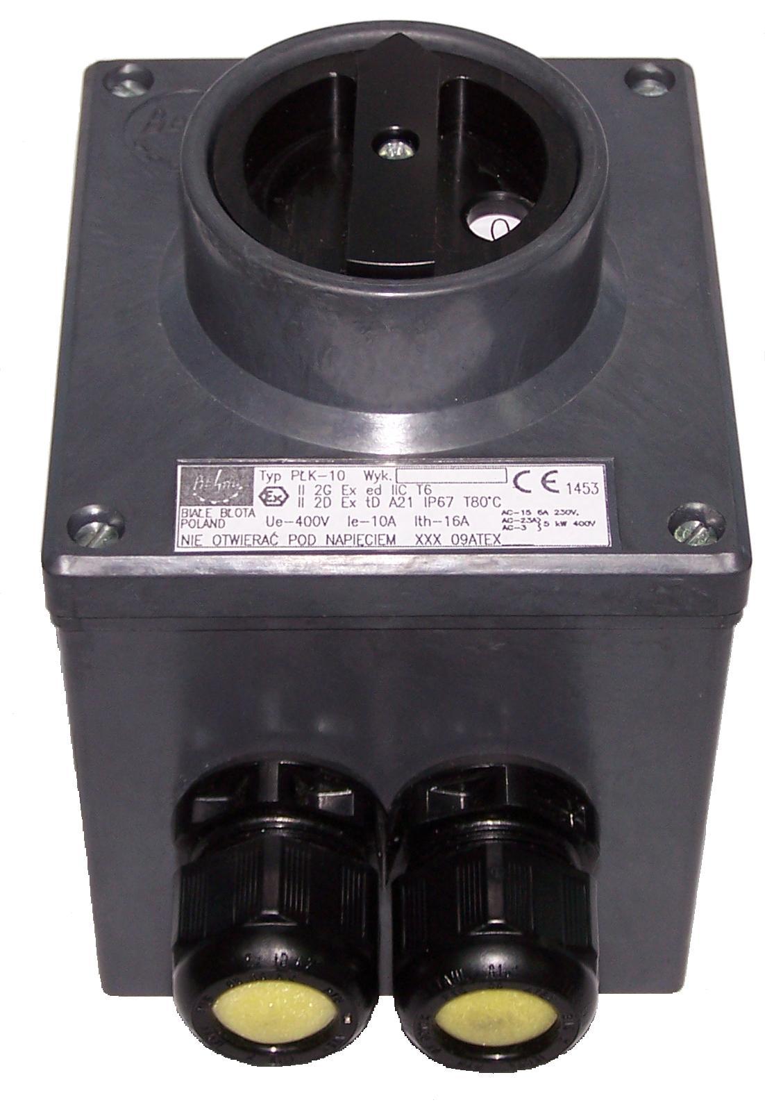 Przeciwwybuchowy łącznik krzywkowy typu PŁK-10 (400V, 10A)